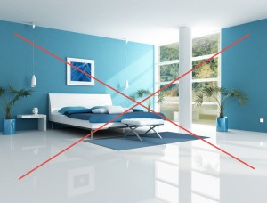 Too much blue in the bedroom is a big Feng Shui mistake!